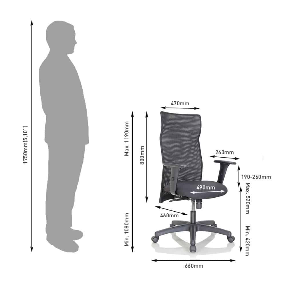 Dimensions of a black Featherlite Office Chair