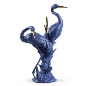 Lladró Courting Cranes - Blue and Gold Porcelain Figurine 1