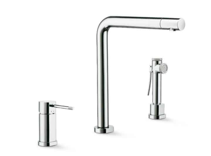 Newform Moony 3 hole kitchen mixer tap with swivel spout with spray