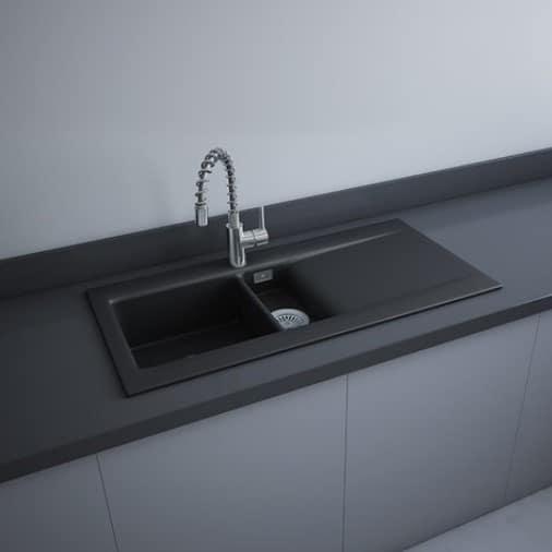 RAK Dream 1 Drop In Matt Black Kitchen Sink