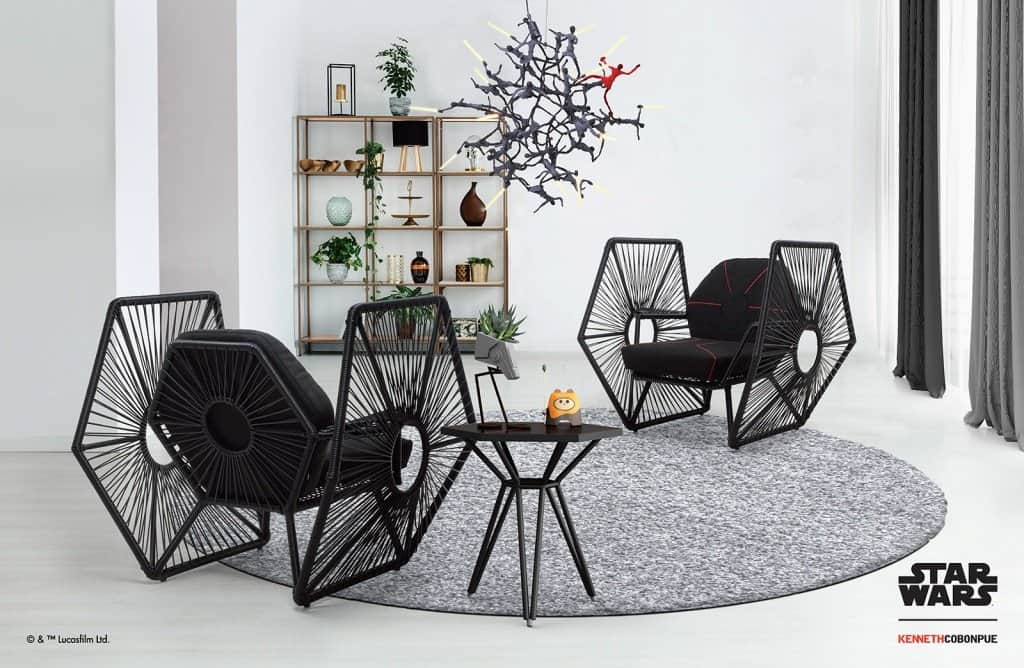 Rattan furniture design ideas-Black - Starwar- Chairs- Imperial_TIE_Fighter_Wings_Setting_01
