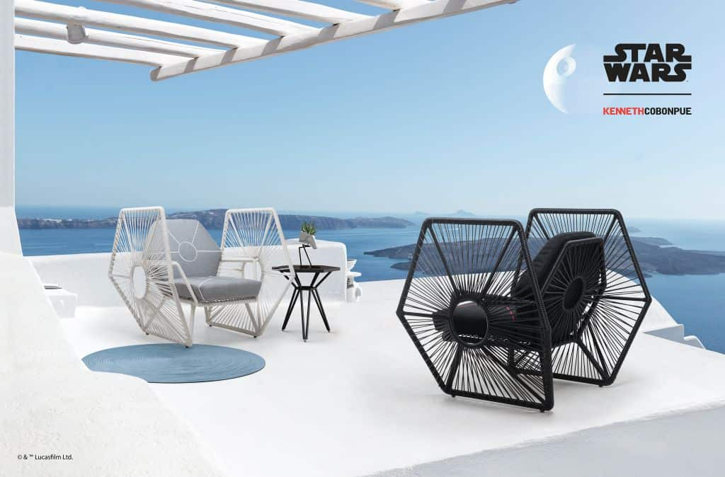Rattan furniture design ideas- Black- White - Starwars - Chairs -Imperial_TIE_Fighter_Wings_Setting_02