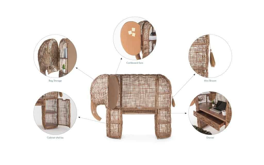 Rattan furniture design ideas-Brown - Elephant -Cabinet - Babar_Cabinet_Functions