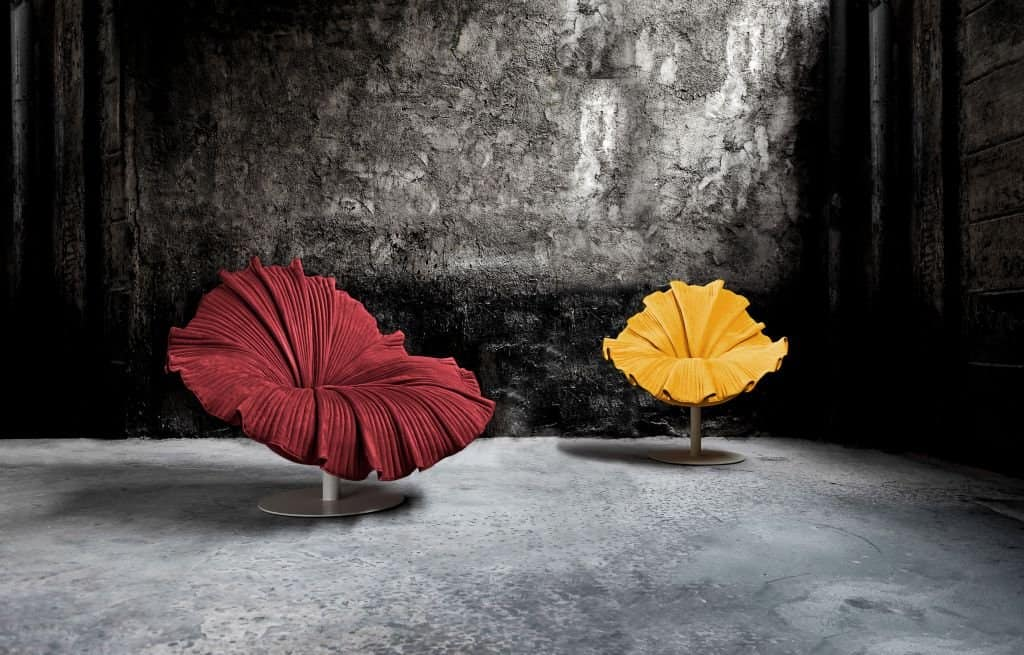 Rattan furniture design ideas- Red - Yellow - flower chairs -Bloom_Setting_01