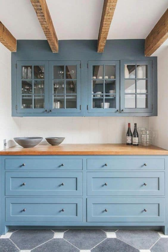 blue cabinets and shelves for countertop and wall
