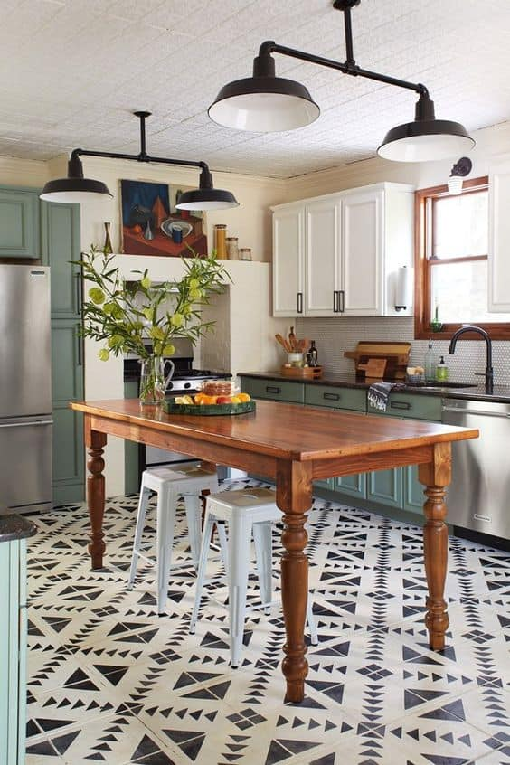 black and white flooring kitchen makeover ideas with closed and open shelving
