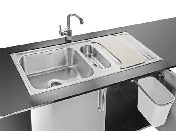 Neelkanth Double Bowl Sink With Drain Board, Waste Bins & Chopping Board