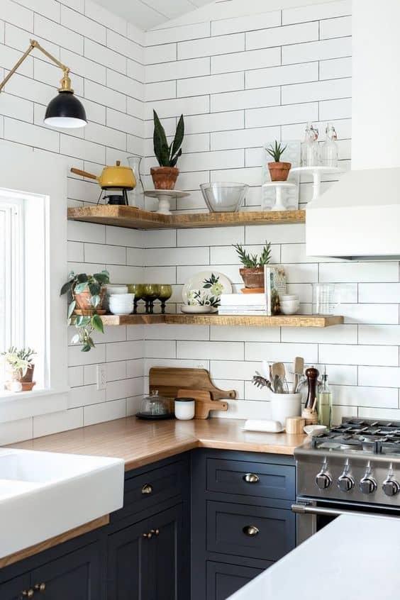 open shelving for kitchen modeling