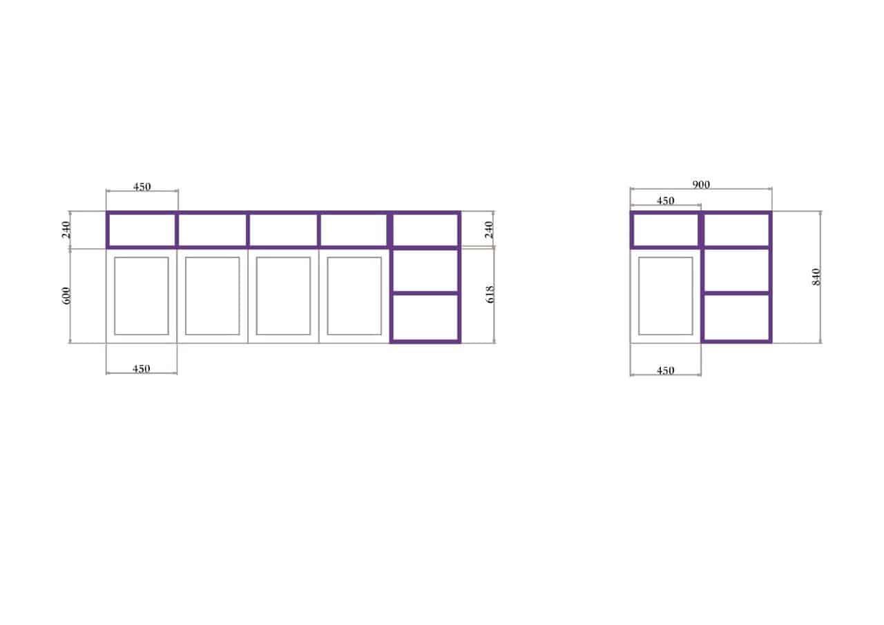 Rod Furniture - Savvy Cube - Connectors -kitchen shelves_outline