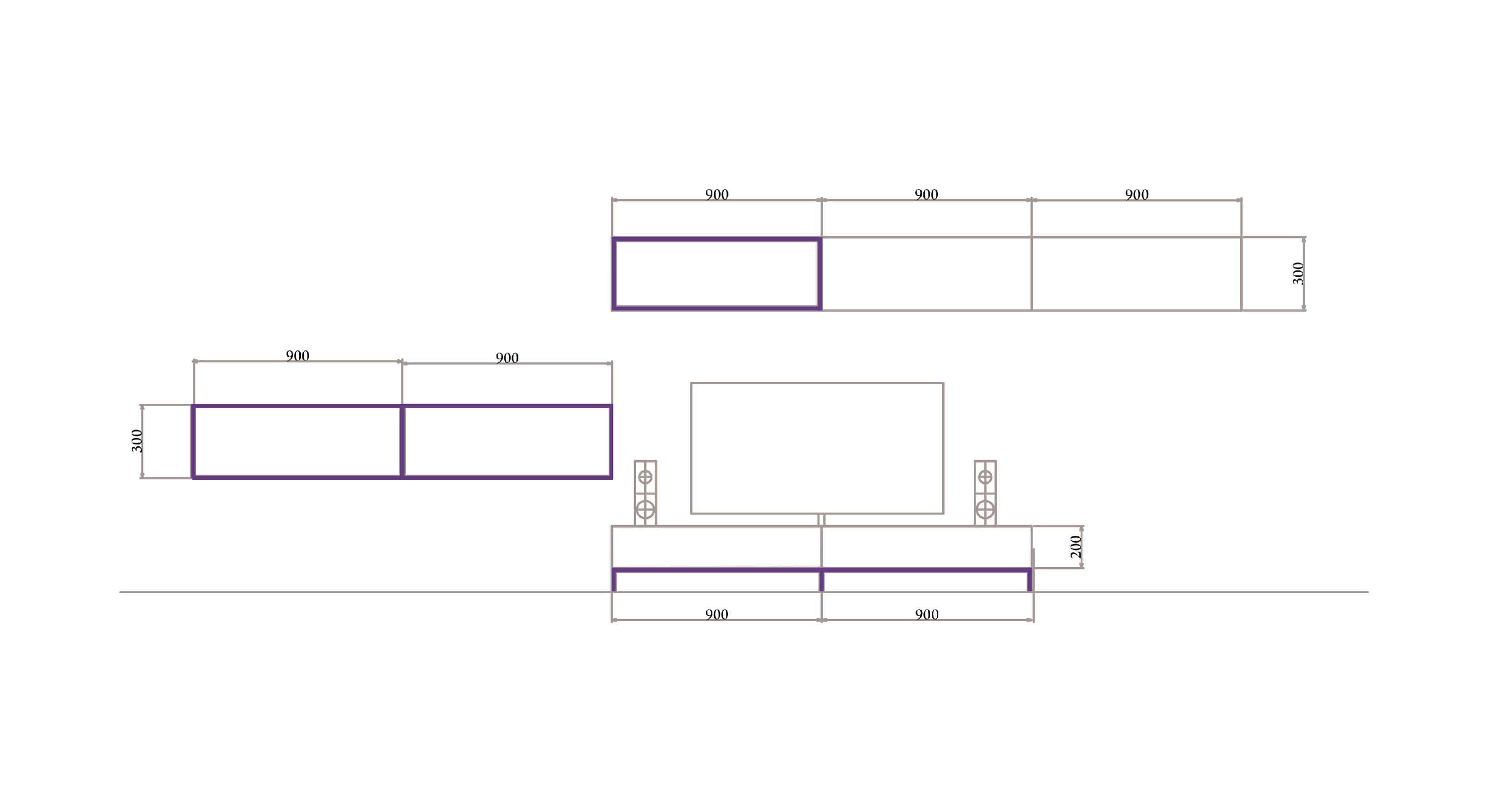 Rod Furniture - Savvy Cube - Connectors -tv_unit_outline