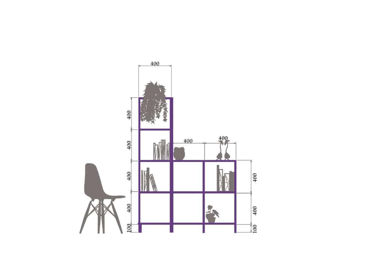 Rod Furniture - Savvy Cube -book_shelf_outline