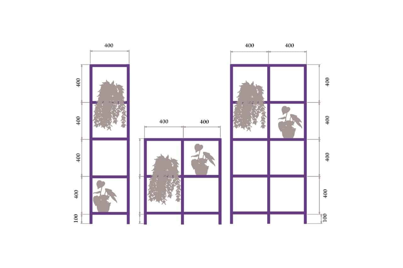 Rod Furniture - Savvy Cube -garden_shelf_outline