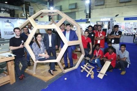 Western Hemlock Wood - Canadian Wood Team - Geodesic design Pergola - Mumbai wood 2019 - 1