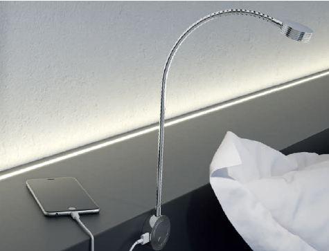 Hafele Loox LED 2034 Flexible Reading Light with USB Charging Station
