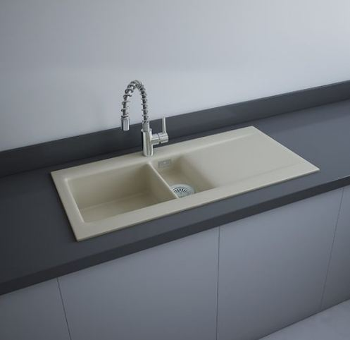RAK Matt Greige Drop-In Kitchen Sink