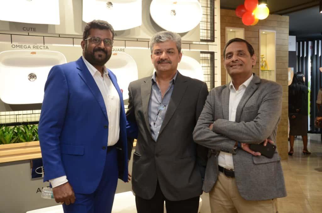 H&R Johnson Experience Centre mumbai - LtoR-Anoop Sreekumar-Head (Tiles Sales)-H&R Johnson (India), Pankaj Sharma-President (Johnson Bathrooms & Kitchens)-H&R Johnson (India), Sarat Chandak-ED & CEO-H&R Johnson