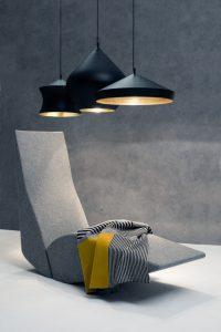 Designer Tom Dixon - Beat Waist, Stout, Flat - Linear Canopy with Bird Chaise & Line Throw
