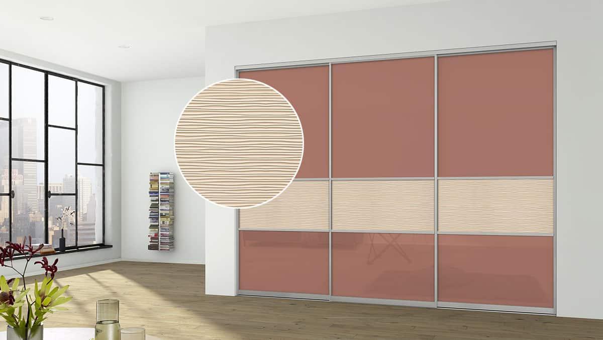 Sliding Doors Wardrobe Design _3D_Fuellung_TerracottaRed_schmal