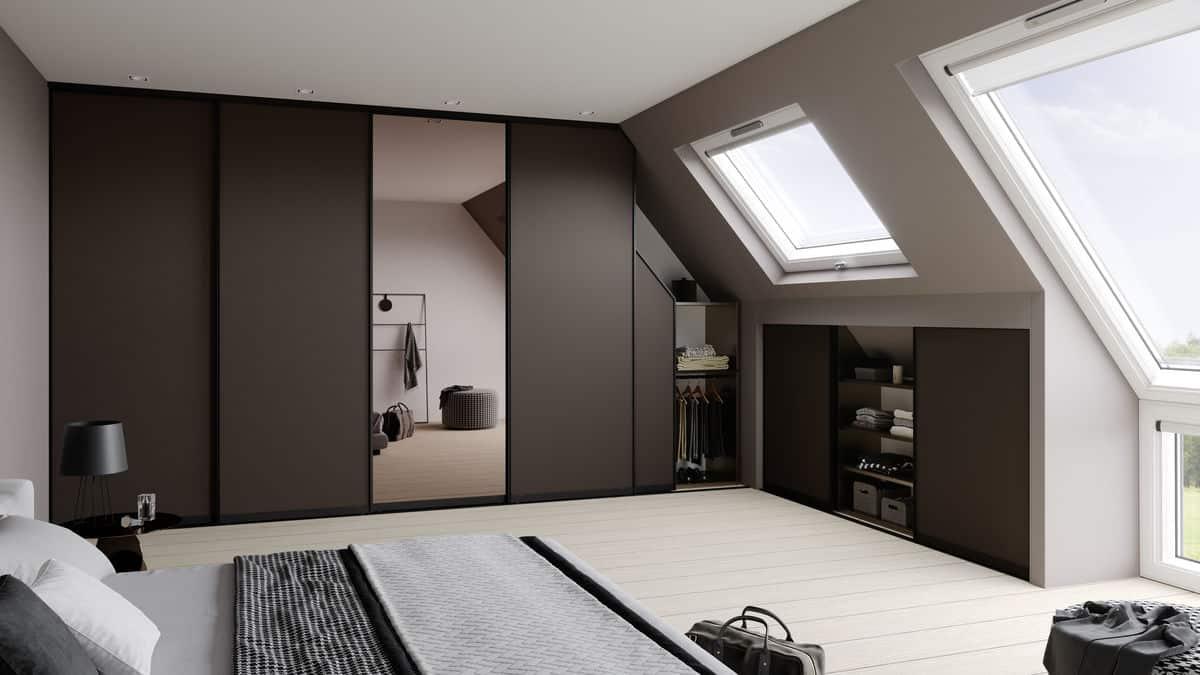 Sliding Doors Wardrobe Design - slope ceiling closet