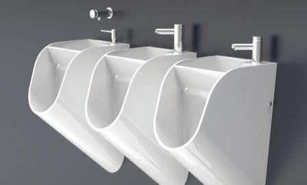 STAND Water, Space Saving Urinal & Wash Basin Combo