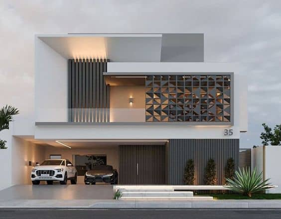 elevation designs photos for luxury facade in shades of white and grey
