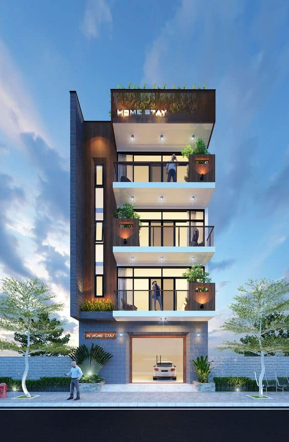 elevation designs photos with colourful facade