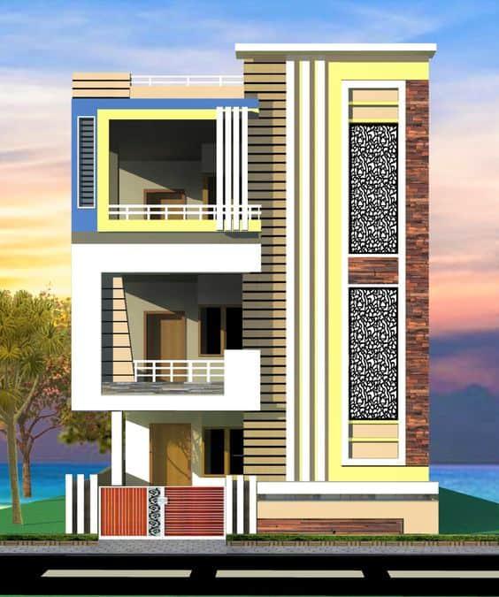 front elevation designs for 3 floors building