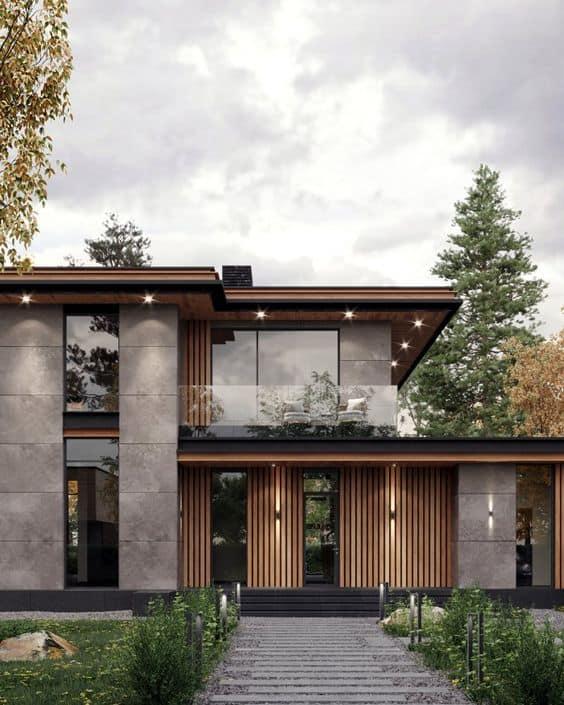 tiles and wooden facade bungalow elevation designs photos