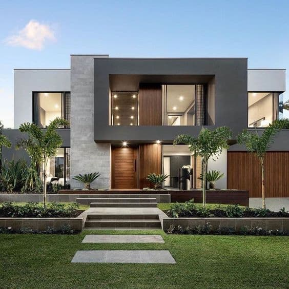house front elevation design images with lawn