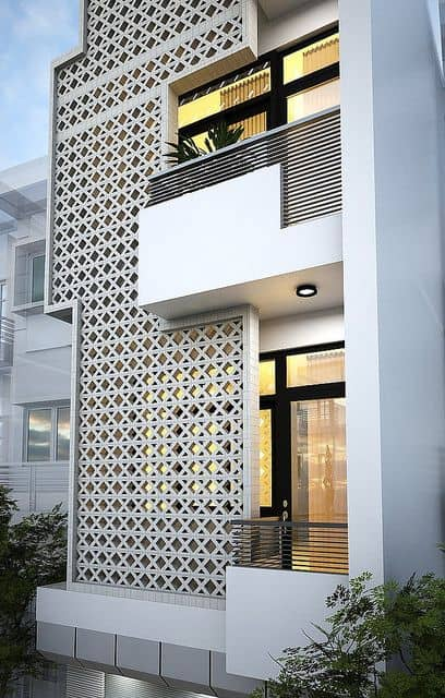 small front house elevation in jali design