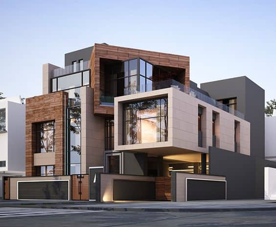 front elevation of modern houses with unusual facade angles