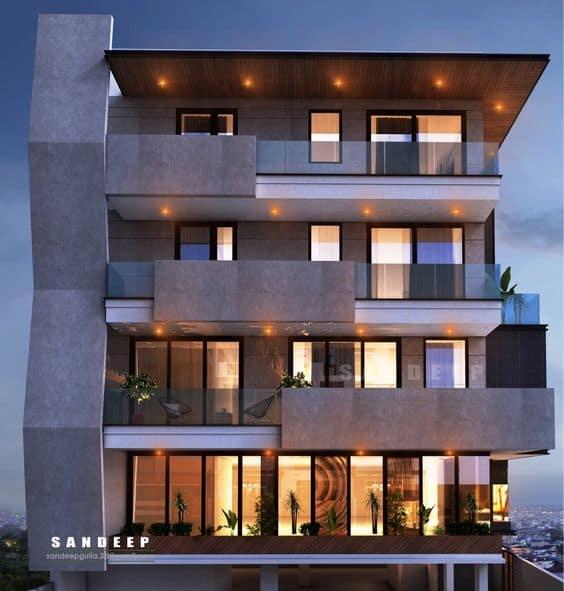 modern house elevation of a unique concrete facade design
