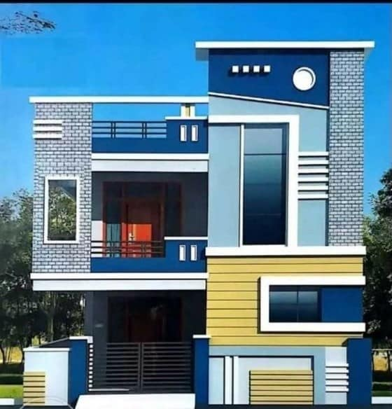 vibrant multi-colored front house elevation design