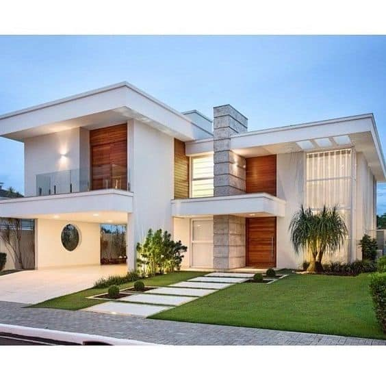 white front bungalow elevation design with subtle wooden and stone cladding
