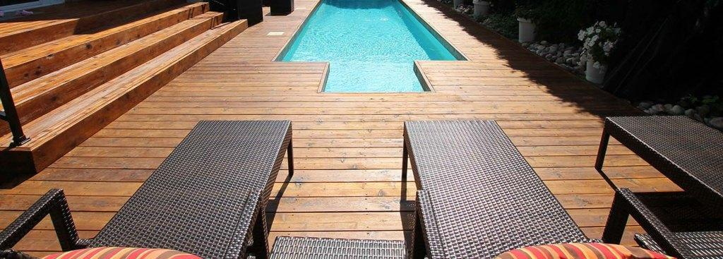pool deck wood work with Canadian Wood