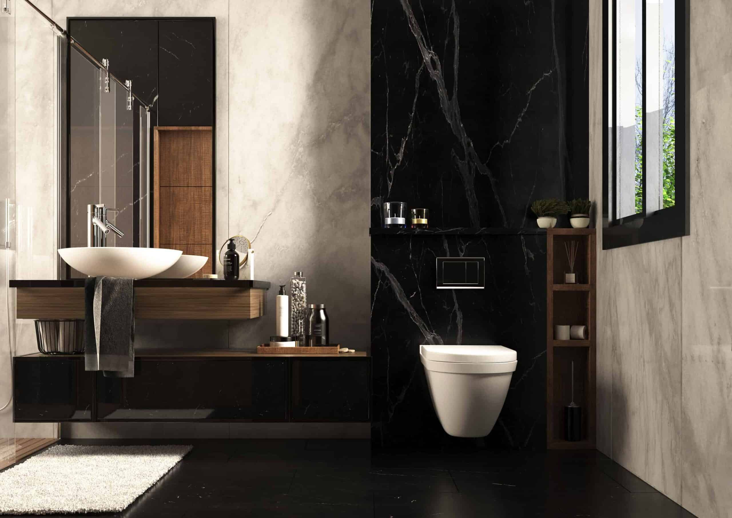 Black and white modern bathroom wall and tile colour design