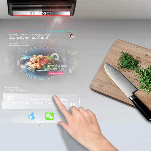 Bosch PAI Projector is a perfect appliance for luxury modular kitchen platform design .