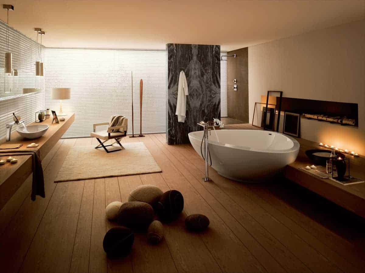Cream and chocolate modern bathroom tile colour design