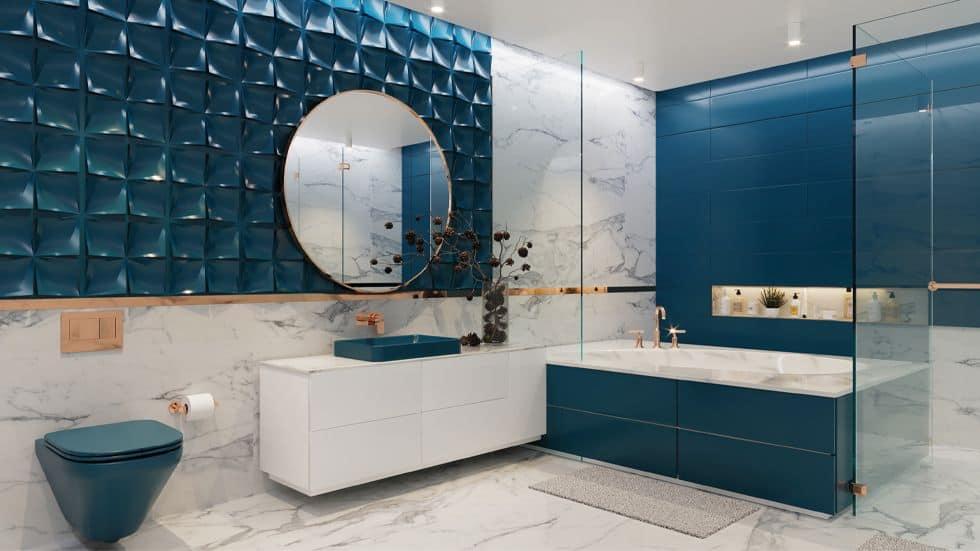 white and blue Bathroom colour ideas