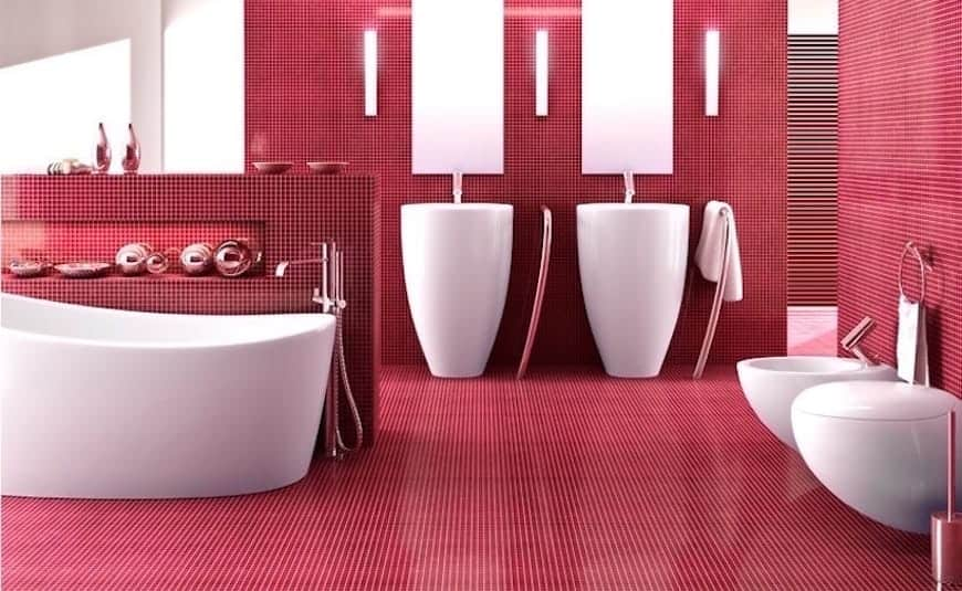 red and white modern bathroom colour design with red tiles