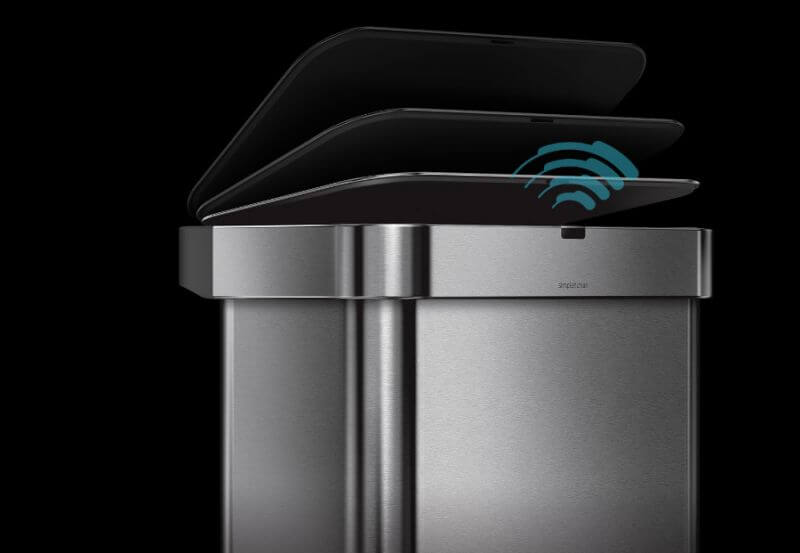 Simplehuman trash can is a voice-activated product