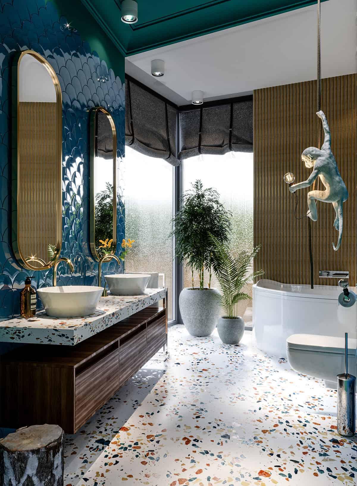 Dark blue and grey modern bathroom tile colour