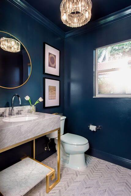 Dark blue and grey bathroom