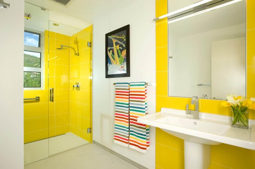 yellow washroom area