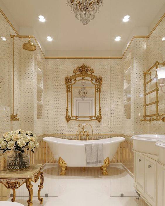 Cream and golden bathroom design