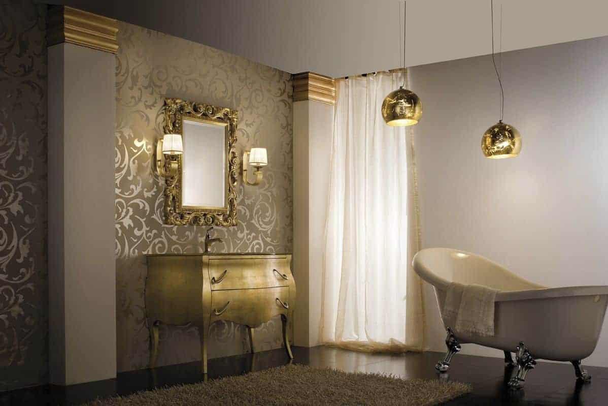 Cream and golden colour tile for modern bathroom design