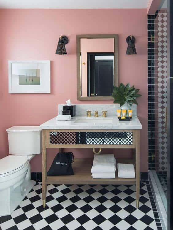 Pink and black modern bathroom design with walls and tiles