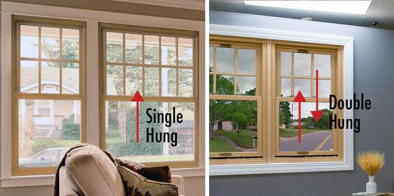 single hung and double hung windows with movable sashes