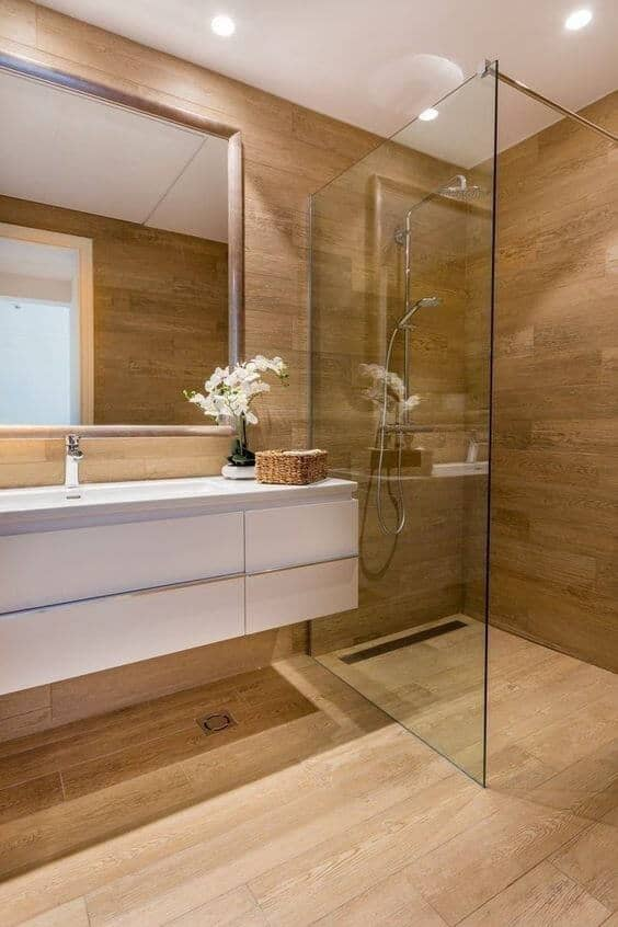 Wood and white modern bathroom tile and floor