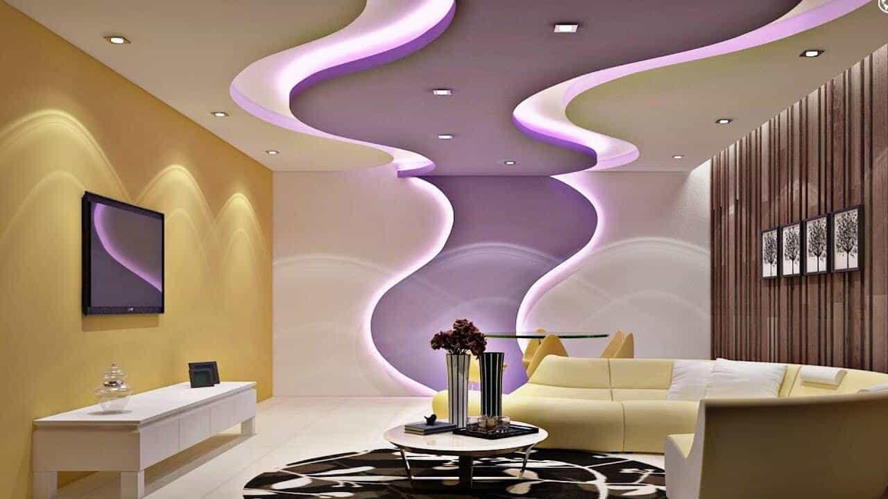 modern living room false ceiling